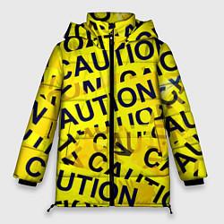 Женская зимняя 3D-куртка с капюшоном с принтом Caution, цвет: 3D-черный, артикул: 10086347006071 — фото 1