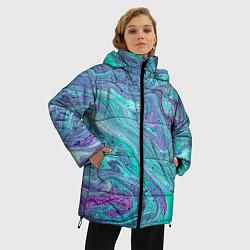Женская зимняя 3D-куртка с капюшоном с принтом Смесь красок, цвет: 3D-черный, артикул: 10086924806071 — фото 2