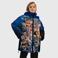Женская зимняя 3D-куртка с капюшоном с принтом Iron Maiden: Skeletons, цвет: 3D-черный, артикул: 10089879506071 — фото 2