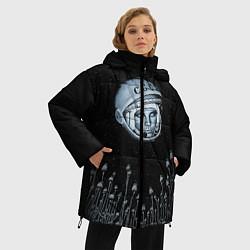Женская зимняя 3D-куртка с капюшоном с принтом Гагарин в небе, цвет: 3D-черный, артикул: 10091680706071 — фото 2