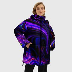 Куртка зимняя женская Цветные разводы цвета 3D-черный — фото 2