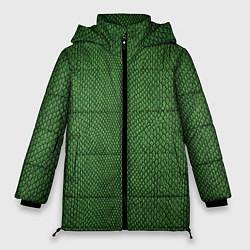 Куртка зимняя женская Змеиная зеленая кожа - фото 1