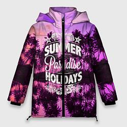 Женская зимняя 3D-куртка с капюшоном с принтом Hawaii dream 2, цвет: 3D-черный, артикул: 10096438106071 — фото 1
