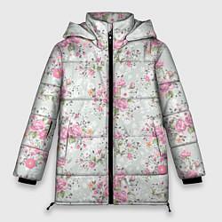 Женская зимняя 3D-куртка с капюшоном с принтом Flower pattern, цвет: 3D-черный, артикул: 10096487306071 — фото 1
