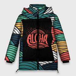 Женская зимняя 3D-куртка с капюшоном с принтом Алоха, цвет: 3D-черный, артикул: 10098336506071 — фото 1