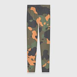 Леггинсы женские Камуфляж: хаки/оранжевый цвета 3D — фото 1