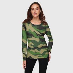 Лонгслив женский Камуфляж: хаки/зеленый цвета 3D — фото 2
