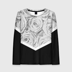 Лонгслив женский Розы цвета 3D — фото 1