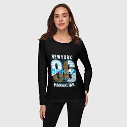 Лонгслив женский New York: Manhattan 86 цвета 3D-принт — фото 2