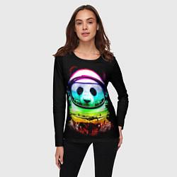 Лонгслив женский Панда космонавт цвета 3D — фото 2