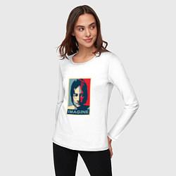 Лонгслив хлопковый женский Lennon Imagine цвета белый — фото 2