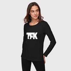 Лонгслив хлопковый женский TFK: White Logo цвета черный — фото 2