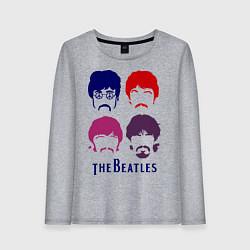Лонгслив хлопковый женский The Beatles faces цвета меланж — фото 1