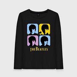Лонгслив хлопковый женский The Beatles: pop-art цвета черный — фото 1