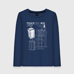 Лонгслив хлопковый женский Доктор Кто, ТАРДИС цвета тёмно-синий — фото 1