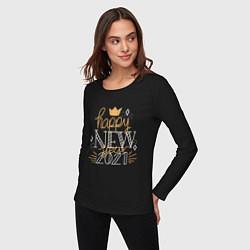 Лонгслив хлопковый женский Happy New Year 2021 цвета черный — фото 2