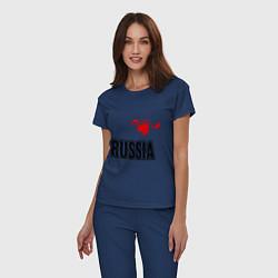 Пижама хлопковая женская Russia Leaf цвета тёмно-синий — фото 2