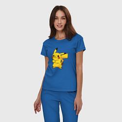 Пижама хлопковая женская Злой Пикачу цвета синий — фото 2