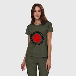 Пижама хлопковая женская Red Hot Chili Peppers цвета меланж-хаки — фото 2