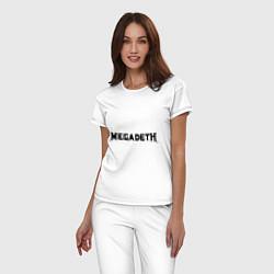 Пижама хлопковая женская Megadeth цвета белый — фото 2