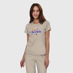 Пижама хлопковая женская Washington Capitals цвета миндальный — фото 2