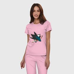 Пижама хлопковая женская San Jose Sharks цвета светло-розовый — фото 2