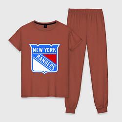 Пижама хлопковая женская New York Rangers цвета кирпичный — фото 1