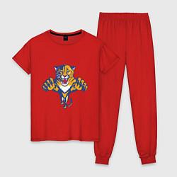 Пижама хлопковая женская Florida Panthers цвета красный — фото 1