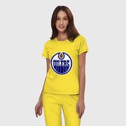 Пижама хлопковая женская Edmonton Oilers цвета желтый — фото 2