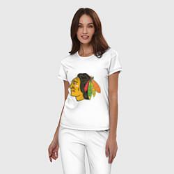 Пижама хлопковая женская Chicago Blackhawks цвета белый — фото 2