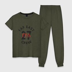 Пижама хлопковая женская Far East 27 Crew цвета меланж-хаки — фото 1