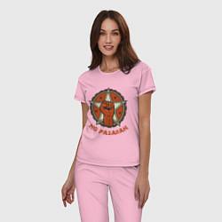 Пижама хлопковая женская No Pasaran цвета светло-розовый — фото 2