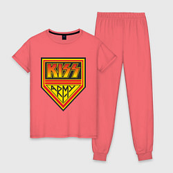 Пижама хлопковая женская Kiss Army цвета коралловый — фото 1