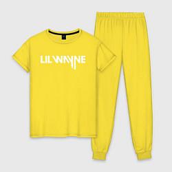 Пижама хлопковая женская Lil Wayne цвета желтый — фото 1