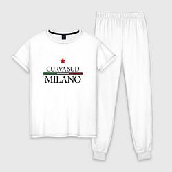 Пижама хлопковая женская Curva Sud: Milano FC цвета белый — фото 1