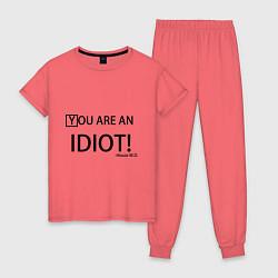 Пижама хлопковая женская You are an idiot! цвета коралловый — фото 1