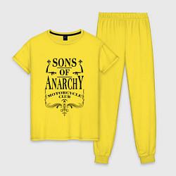Пижама хлопковая женская Anarchy Motorcycle Club цвета желтый — фото 1