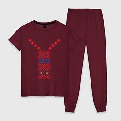 Пижама хлопковая женская Узор славянского сарафана цвета меланж-бордовый — фото 1