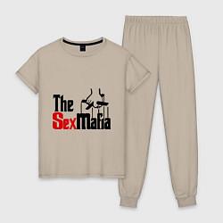 Пижама хлопковая женская The SexMafia цвета миндальный — фото 1