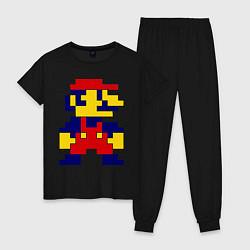 Пижама хлопковая женская Pixel Mario цвета черный — фото 1