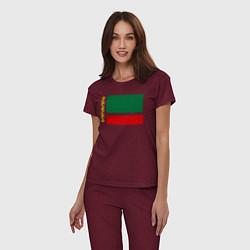Пижама хлопковая женская Чечня: флаг цвета меланж-бордовый — фото 2