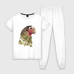 Пижама хлопковая женская Полигональный попугай цвета белый — фото 1