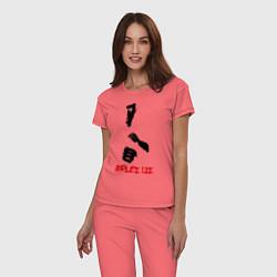 Пижама хлопковая женская Bruce Lee цвета коралловый — фото 2