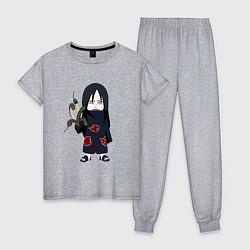 Пижама хлопковая женская Орочимару цвета меланж — фото 1