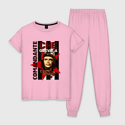 Пижама хлопковая женская Comandante цвета светло-розовый — фото 1