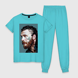 Пижама хлопковая женская Том Харди Ван Гога цвета бирюзовый — фото 1