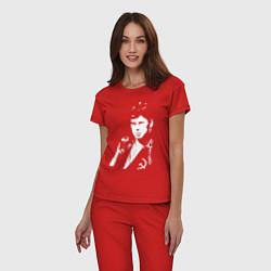 Пижама хлопковая женская Юрий Клинских цвета красный — фото 2
