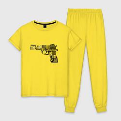 Пижама хлопковая женская Pulp Fiction Gun цвета желтый — фото 1