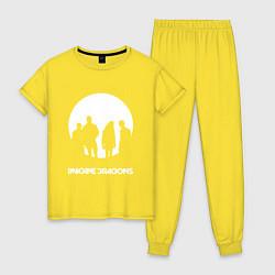 Пижама хлопковая женская Imagine Dragons цвета желтый — фото 1