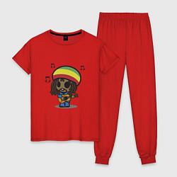 Пижама хлопковая женская Маленький Боб Марли цвета красный — фото 1